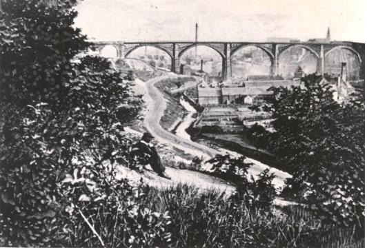 Photograph showing Ouseburn Viaduct around 1839