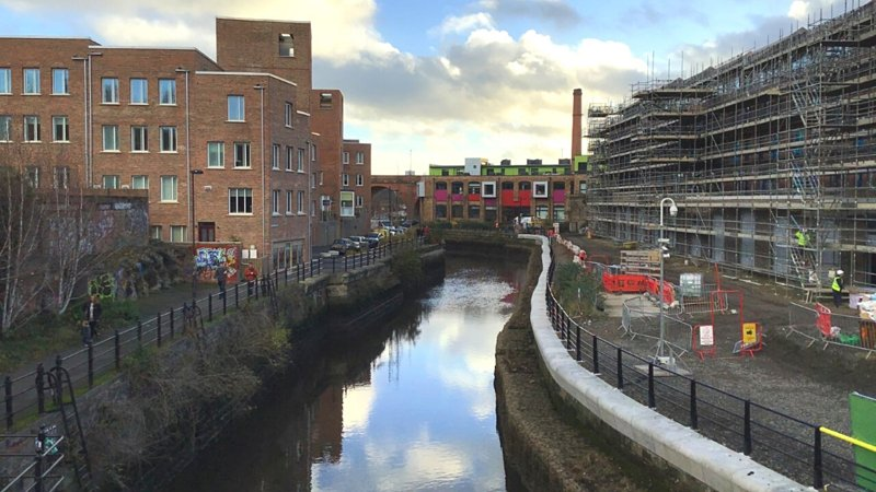 Ouseburn river walkway and Malings development in 2020
