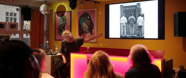 Photo of Tuesday talk by Pauline Moriarty about Davey Pearson